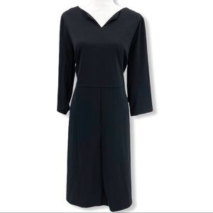Talbots Basic Black Career Shift Dress 3/4 Sleeve